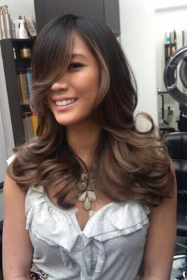 Balayage Ombre Highlights On Dark Hair