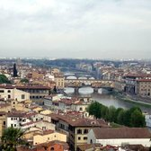 View of the Arno River and the three bridges from Piazzale Michelangelo.