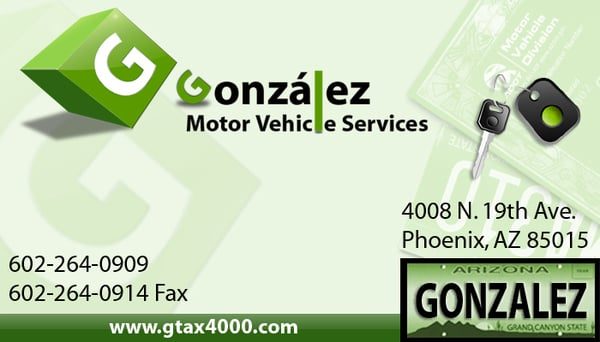 Gonzalez mvd services tax services phoenix az for Third party motor vehicle division