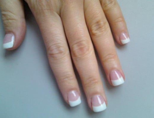 "Pink-and-whites (""permanent french manicure""), gel, short and square"