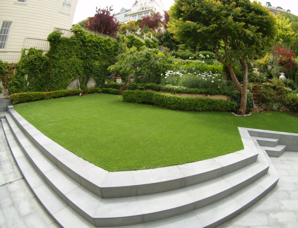 Artificial Grass For Backyard Reviews : Artificial lawn installed in a backyard with a beautiful landscape and
