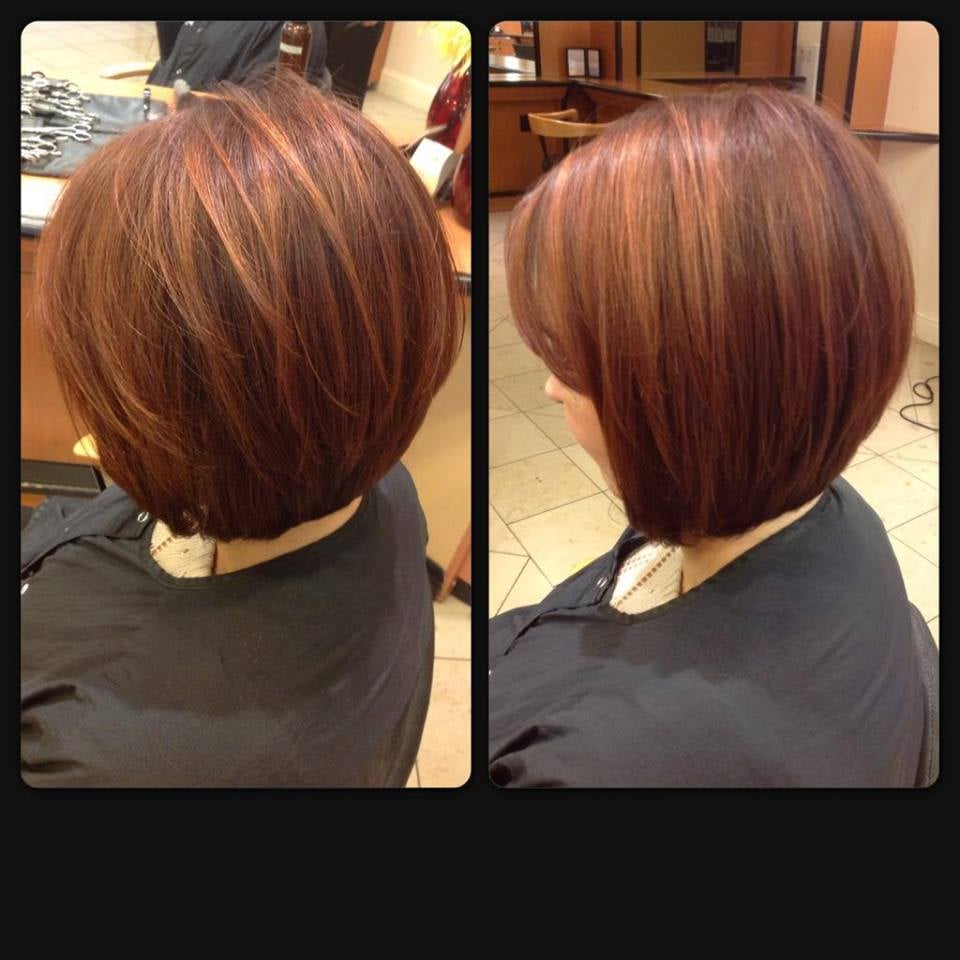 Subtle copper/gold highlights and a-line graduated bob done by