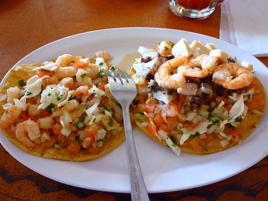 shrimp & crab tostada and a Mixta tostada | Yelp