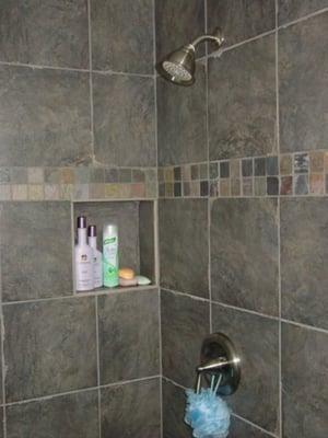 recessed shelf shower. Black Bedroom Furniture Sets. Home Design Ideas