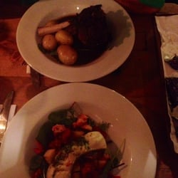 Sorry so dark! But super good cod with a roasted potato and crayfish salad and lamb shanks. Delicious!
