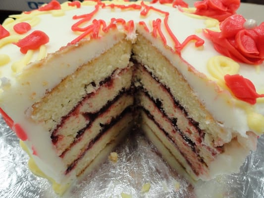 inch, 4-layer, almond cake with raspberry filling (inside) | Yelp