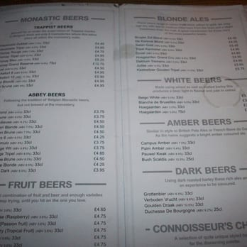 Part of the beer menu