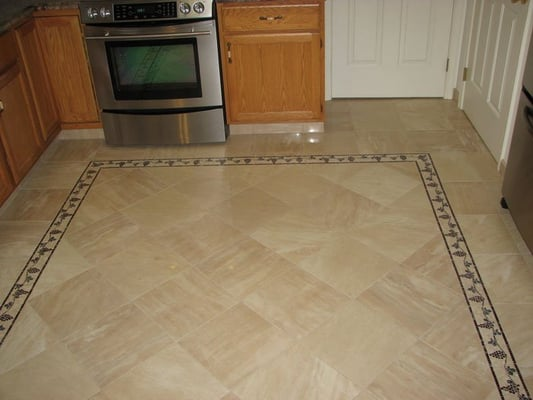 Porcelain tile floor with border yelp for Floor tiles border design