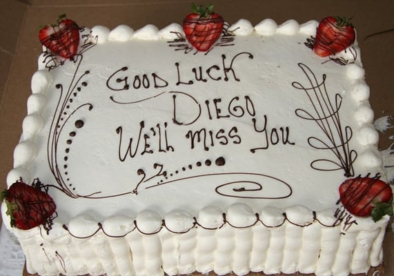 what to write on a farewell cake