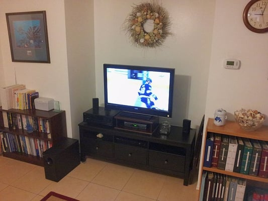 finished ikea hemnes entertainment center sitting in my living room