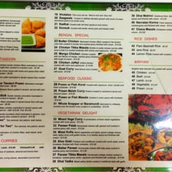 Menu outside for Arman bengal cuisine dinas menu