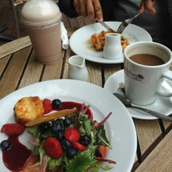Strawberry Brie salad, coffee, waffle, chocolate milkshake. Yum!