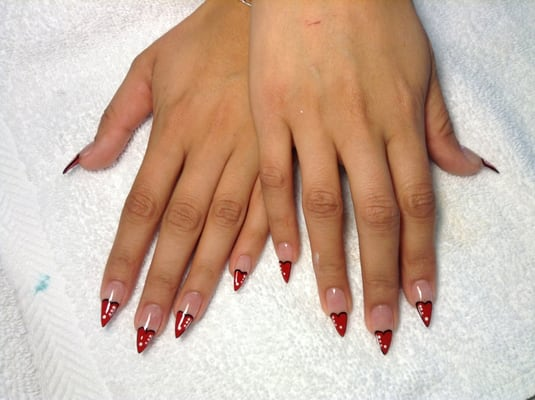 Full set acrylics and nail heart designs by Annie | Yelp