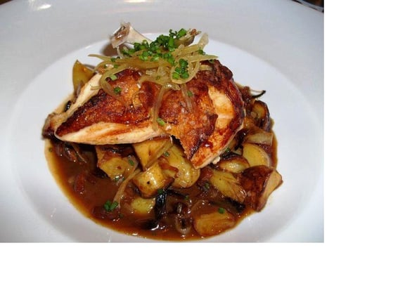 Chicken Breast, Roasted Fingerling Potatoes and Yellow Onions, Crispy ...