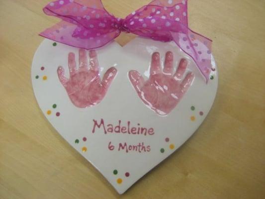 Clay handprint yelp for Handprint ceramic plate ideas