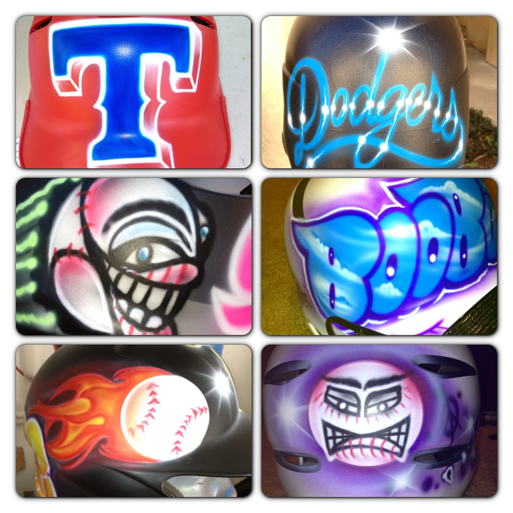 custom airbrushed baseball helmets by mr hoodbrush yelp