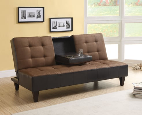 sofa bed with cup holder