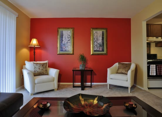 Red accent wall living room simple home decoration tips Interior design painting accent walls