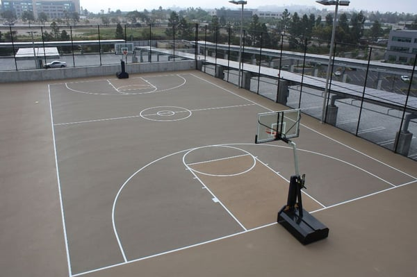 Basketball court on building roof yelp for How to build basketball court