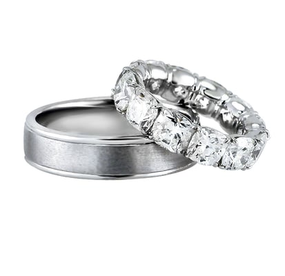 His And Hers Wedding Rings. His: 6 mm wide, 2mm thick in Platinum ...