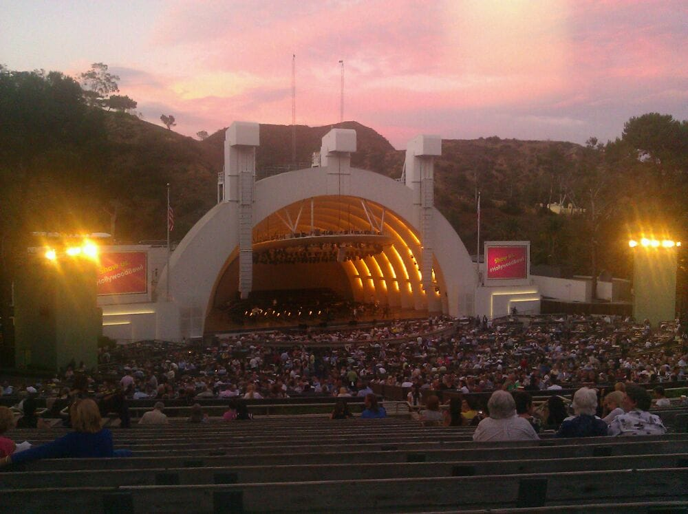 Section k1 seating view at dusk yelp for Terrace 2 hollywood bowl