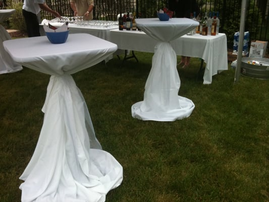 Highboy cocktail tables with 120 round white linens yelp for 120 round white table linens