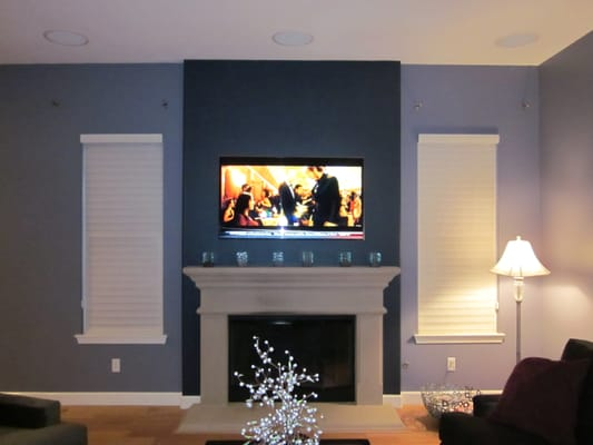 Tv Mounted Above Fireplace And In Ceiling Speakers With Components In Another Room Yelp
