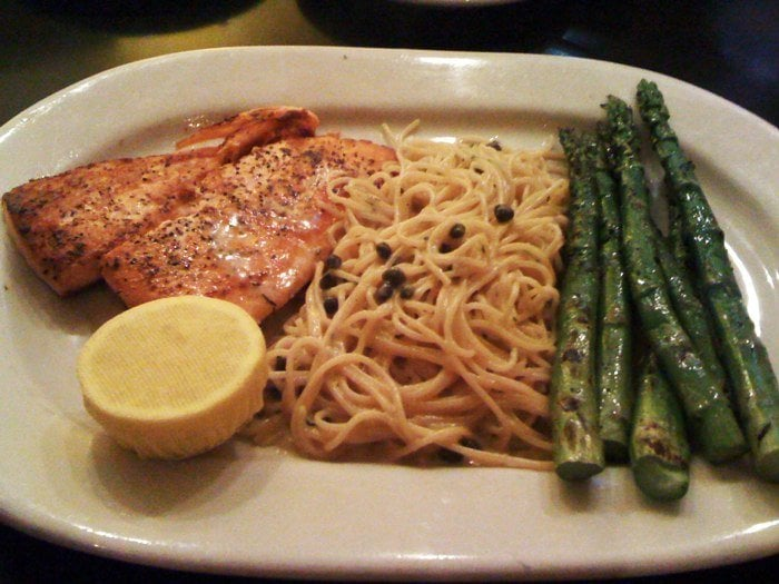 Grilled Salmon Cream Angel Hair Pasta With Capers