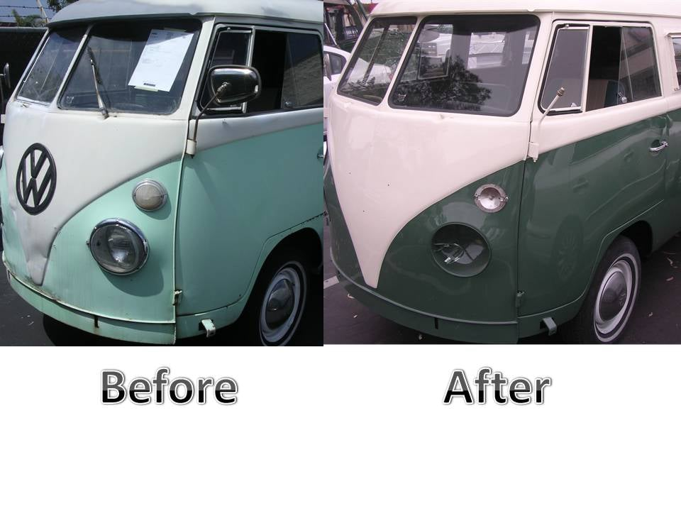 This is before and after photo of a vw bus are technicians for Maaco paint reviews
