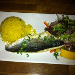 Seabass with rice and salad (far to small for a main.)
