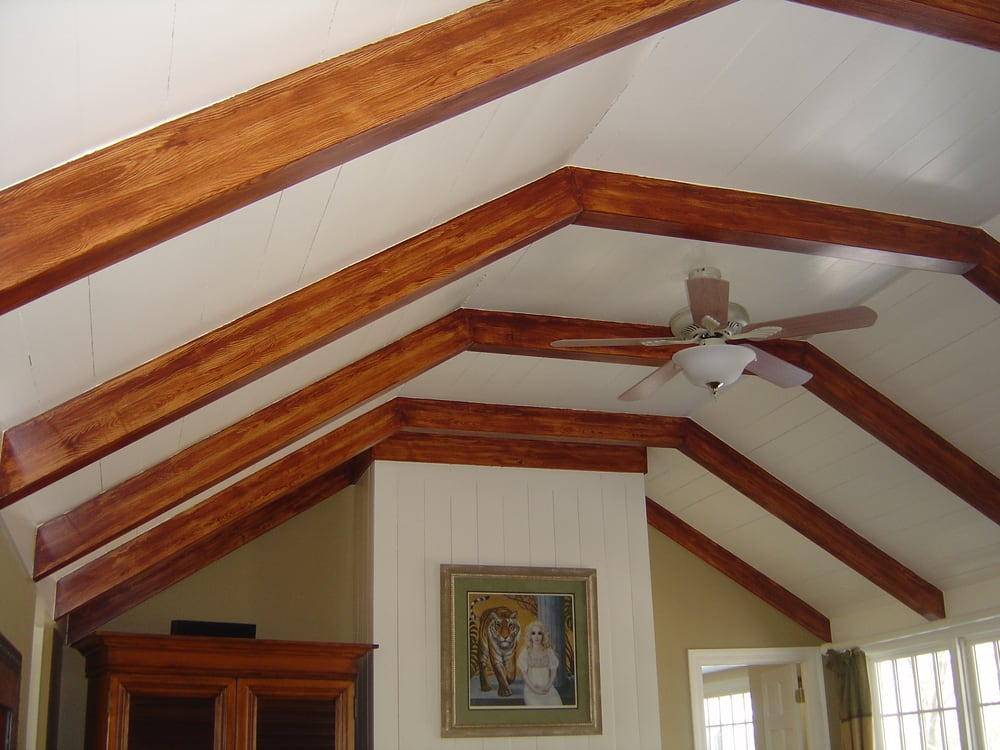 Decorative faux wood beams painted with woodgraining tool - Painting wood beams on ceiling ...