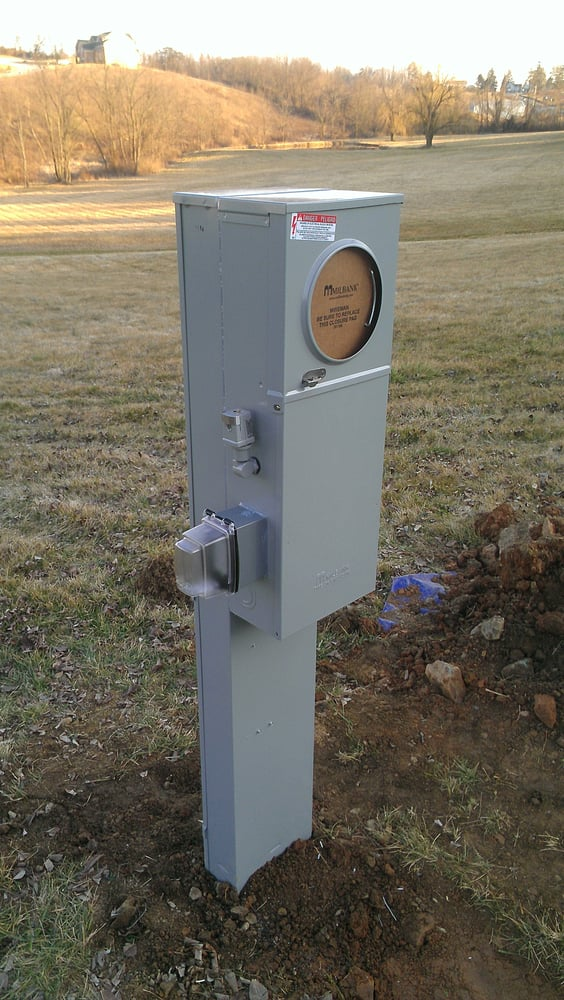 Electrical Service Pedestal : An outdoor pedestal mounted amp metered service yelp