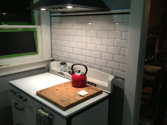crackle subway tile with pewter grout for stove backsplash yelp