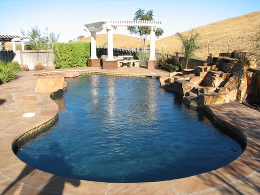 Pool With Flagstone Deck Pebble Sheen Ocean Blue Yelp