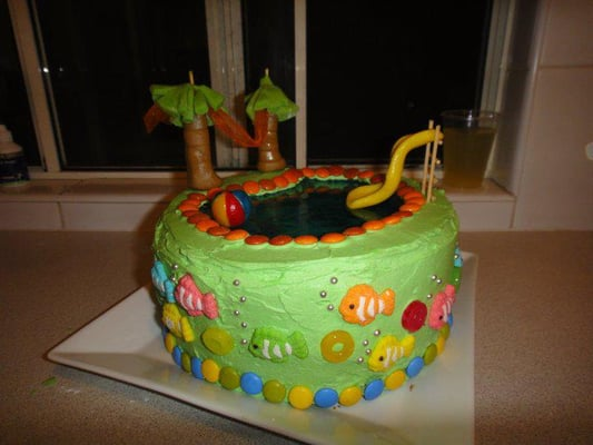 Swimming Pool Cake Butter Cake With Blue Jelly Yelp