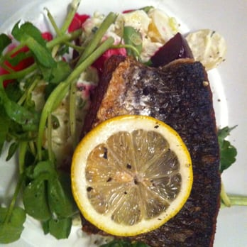 Grey mullet fillet, roast beetroot, potato & labna salad.