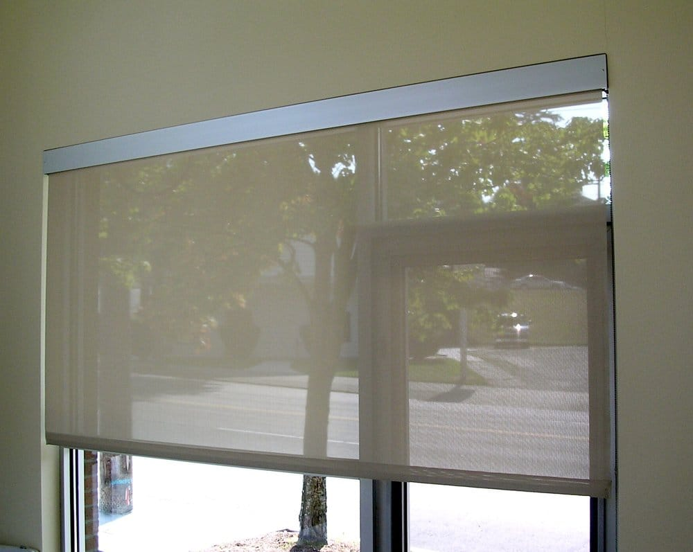 Roller shade with aluminum valance   Yelp