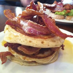 Stacks on stacks! Pancakes, bacon & lots of maple sizzurrp!