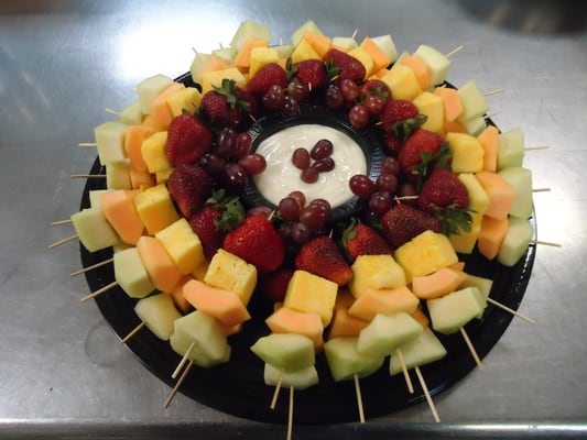 Seasonal fruit skewers with yogurt dip. | Yelp