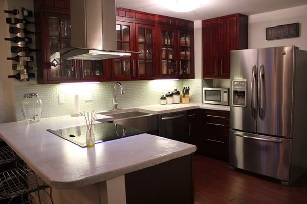Kitchen Remodel - concrete countertops, glass backsplash, glass ...