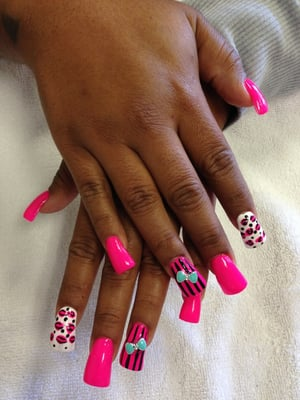 Duck feet acrylics, nail design, and 3D bow by LILY | Yelp