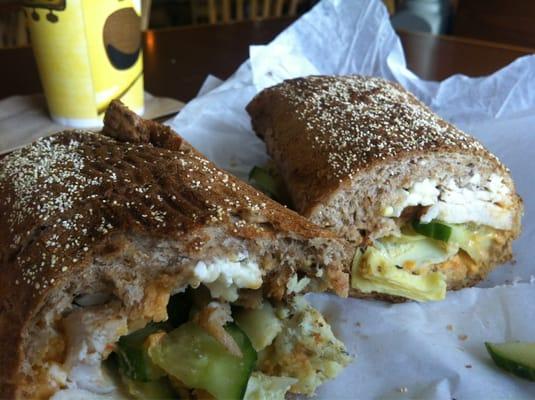 ... sandwich! Chicken, hummus, feta, cucumber, and artichoke hearts
