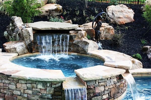 Creative Waterfall Drops Into Spa Spa Double Drops Into