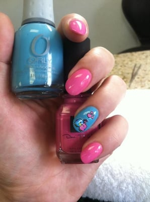 I like my nails round and have thin layer of acrylic over my