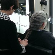 Wendy perfecting a french plait