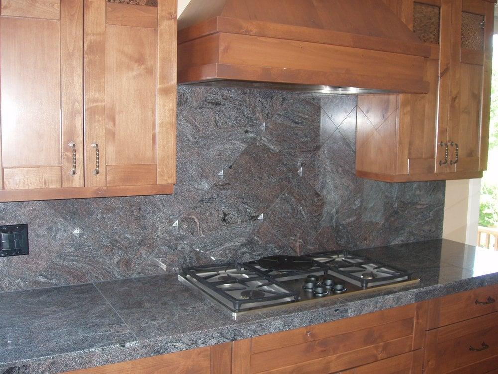 Paradiso Granite 18x26 Tiles On Counter 12x12 Diagonal