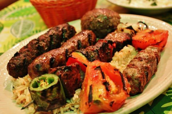 Meat Combination (Beef Kabob, Kafta, Mqaniq, Sujuk and kibbi) with ...