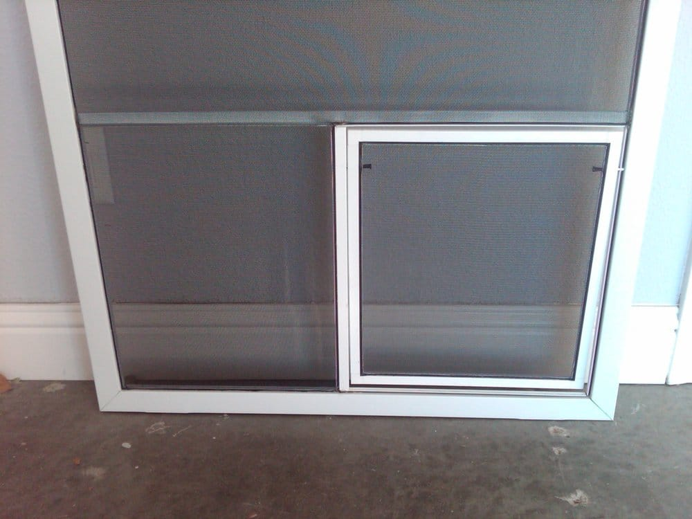 Sliding patio screen door with pet door electric door in for Patio screen door
