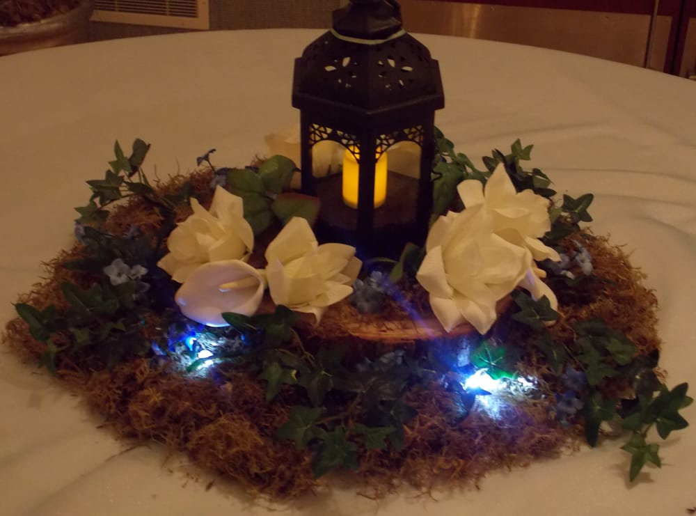 Lighted lanter centerpiece real moss and in wood slab