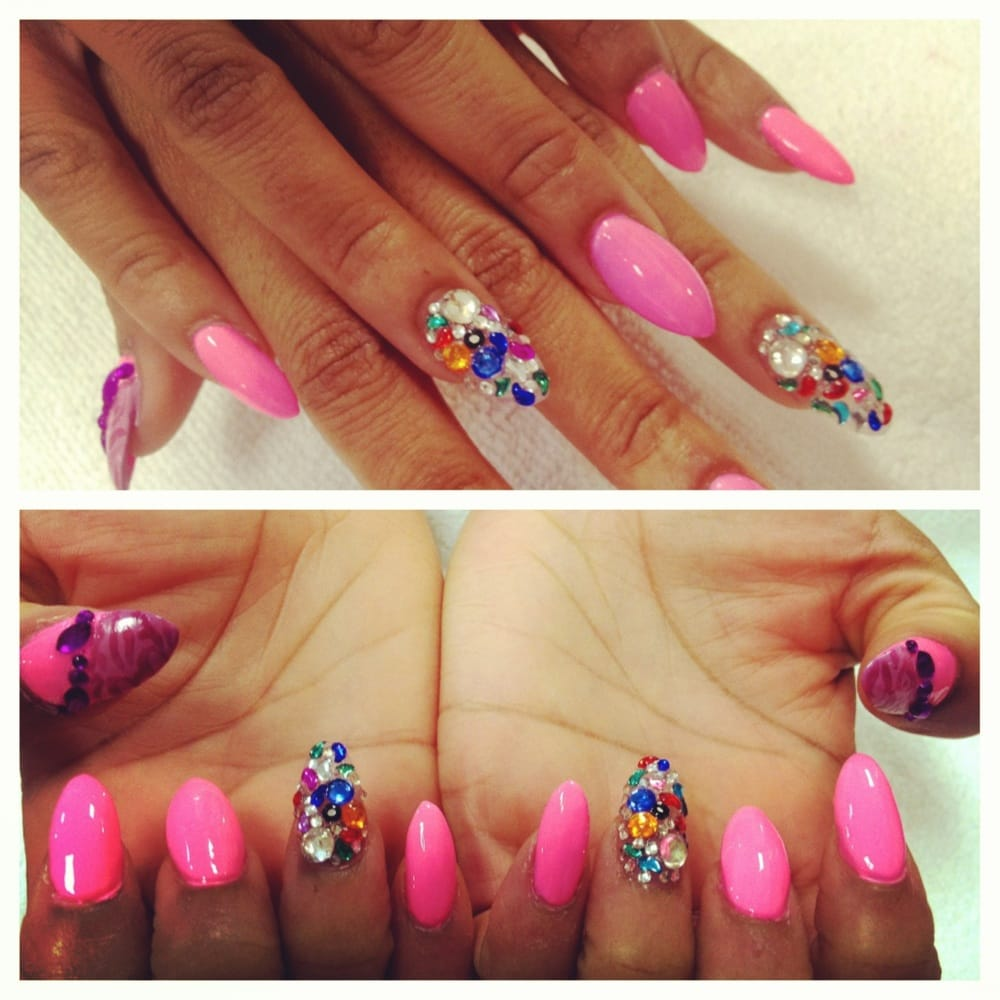 Stiletto nails and rhinestones with designs. | Yelp